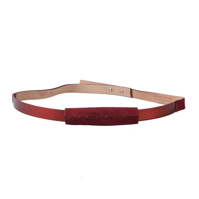 Item - Burgundy Red Leather Suede Metal Belt