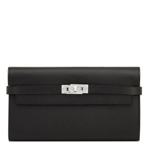 Hermès Hermes Black Kelly Long Wallet Epsom Palladium Hardware