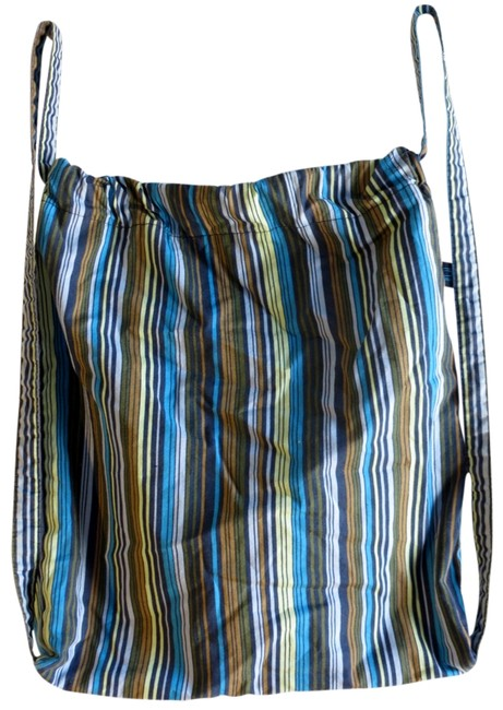 Item - Drawstring Weekend Travel Stripes Blue Green Cotton Beach Bag