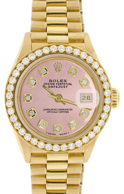 Rolex President Datejust Ladies Gold 26mm Pink Dial & Diamond Bezel Watch Rolex President Datejust Ladies Gold 26mm Pink Dial & Diamond Bezel Watch Image 1