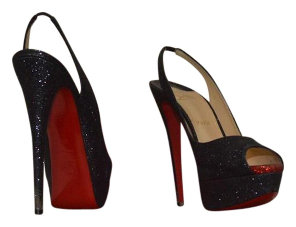 7082320651a Christian Louboutin Black Lady Peep Slingback 150mm   Red Glitter Pumps