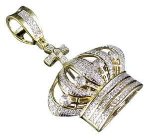 Jewelry Unlimited Men's 10K Yellow Gold Diamond King Crown Royal Pendant 0.45 Ct 1.6""
