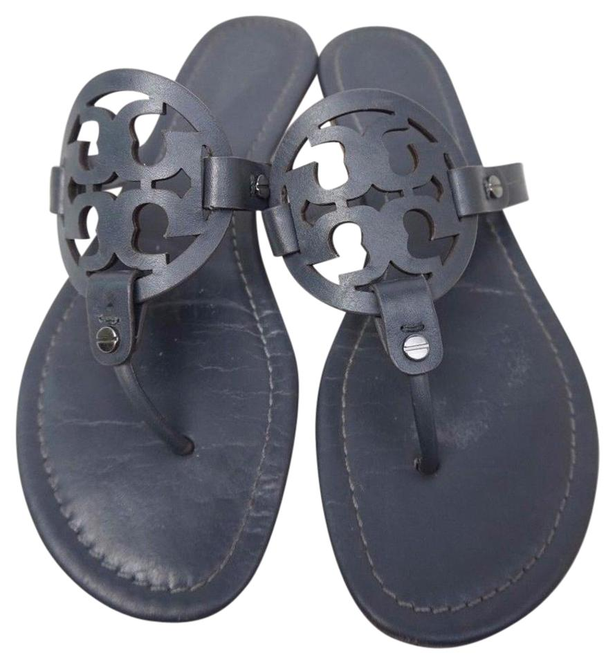 b55a39f9e96052 Tory Burch Dark Grey Miller Flip Flops Leather Sandals Size US 9 ...