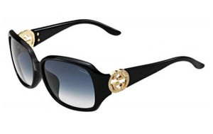 cfb339d1ab4 Gucci Rectangle Crystal GG Logo Black Gold Gradient Sunglasses