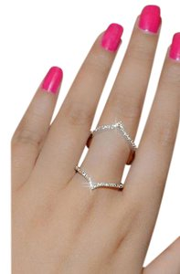 CasaDiBling Double Chevron Micro Pave Cubic Zirconia Diamond full finger ring