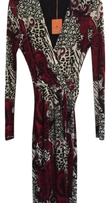 Item - Black Red Print Faux Mid-length Work/Office Dress Size 10 (M)