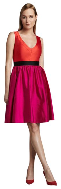 Item - Magenta and Red Normandy Mid-length Cocktail Dress Size 12 (L)