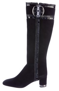 Tory Burch Square Toe Snakeskin Metallic Hardware Reva Black, Silver Boots