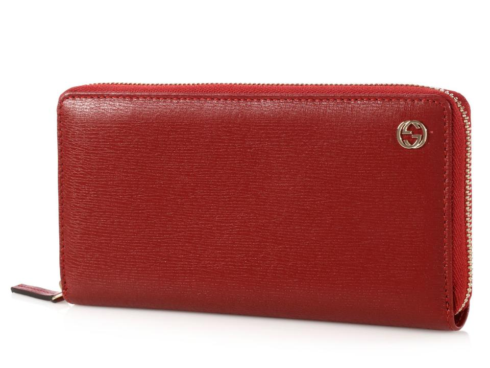 b88ddd47e01 Gucci Wallet Red   New Gucci 449413 Red Leather Micro Gg Guccissima ...