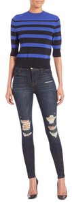J Brand High Waist High Rise Distressed Destructed Skinny Jeans-Dark Rinse