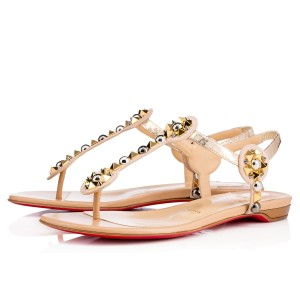 Christian Louboutin Embellished Beaded Kaleifra Thong T Strap Beige/Light Pink Sandals
