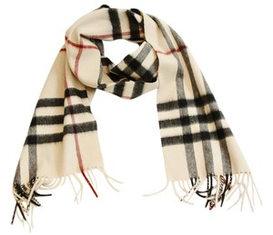 Burberry Cashmere Giant Check Fringe Scarf