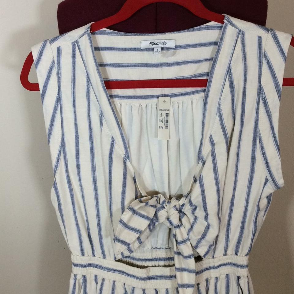 dc76e70dc272 Madewell Off White and Blue Stripe Tie-front Culotte Ikat Romper ...