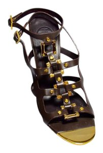 Tory Burch Head Turner Cage Stappy Stacked Heel Brown Sandals