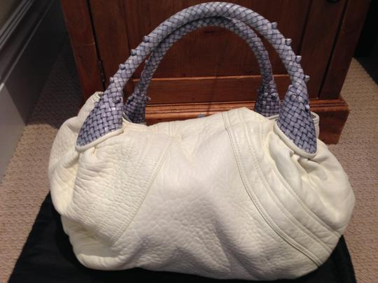 Fendi Spy Borsa Spy Nappa Leather Monogram Lining Tote in White and blue / Bianco + Pall