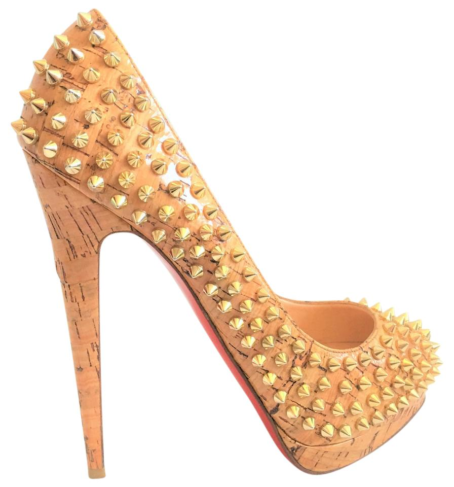 8e27e1673870 Christian Louboutin Gold Beige Ailti Patent Cork Spikes High Heel Red Lady  Fashion Toe Bianca 9 Pumps