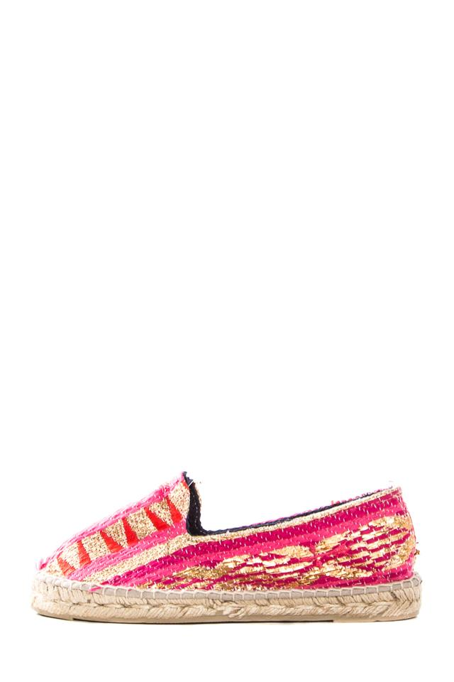 7eb93236d4a Manebi Multicolored Espadrille Flats with Gold Thread Detail Mules Slides