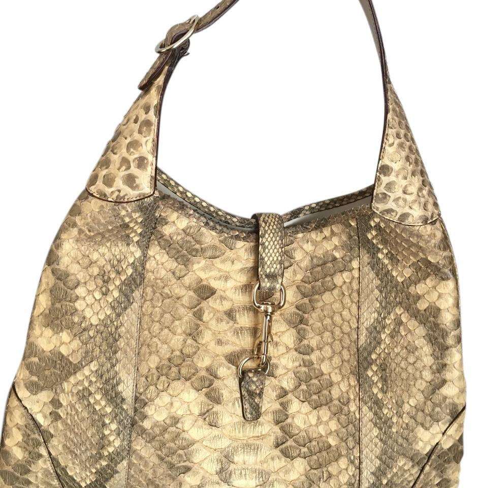 e4d8698676f2 Gucci Snakeskin In Pearl and Metallic Python Gold Exotic Skin Leather Snake  Hobo Bag
