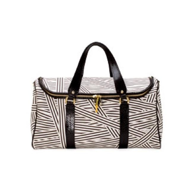 Item - Duffle Disturbed Stripe Medium/Large Black White Purple Gold Canvas/Leather Weekend/Travel Bag