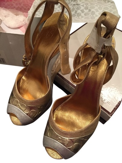 Preload https://item2.tradesy.com/images/coach-goldsilver-margory-wave-patchwork-platform-sandal-with-ankle-strap-wedges-size-us-6-regular-m--2173401-0-0.jpg?width=440&height=440