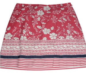 Ann Taylor LOFT Skirt Coral/Pink, White, Navy Blue