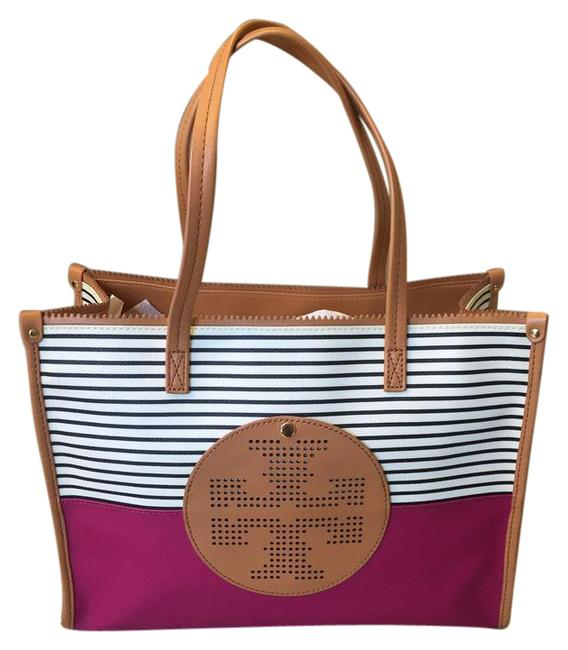 Item - Marion Quilted Oak Pink Black and White Striped with Magenta Patent Leather Tote