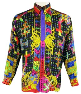 Versace Gianni Vintage 1990s Mardis Gras Print Button Down Shirt Multi-Color