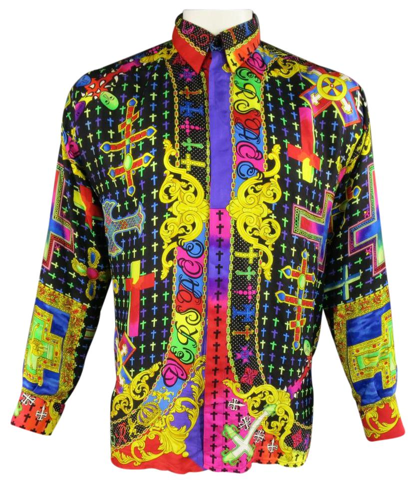 versace multi color men 39 s gianni silk mardi gras crucifix cross shirt button down shirt on tradesy. Black Bedroom Furniture Sets. Home Design Ideas