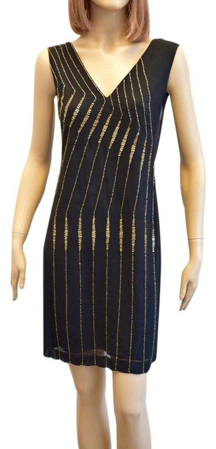 French Connection Black Women's and Gold Beaded Sheer Short Cocktail Dress Size 10 (M) French Connection Black Women's and Gold Beaded Sheer Short Cocktail Dress Size 10 (M) Image 1