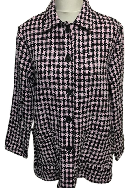 Item - Pink Black Houndstooth Knit Jacket Size 14 (L)