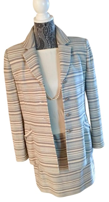 Item - Blue W/ Silver and Ivory Striped Two Piece with Iridescent Treading Skirt Suit Size 6 (S)