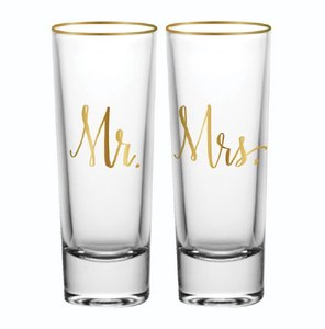Mr and Mrs Shot Glass 2 Count Perfect Keep For Newlyweds Serverware