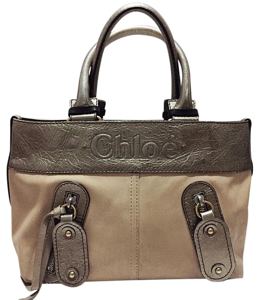 b79f58986d49 Chloé Metallic Coated Canvas Haley Style Satchel Silver Leather Tote ...