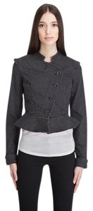 Juicy Couture Lamont Equesterian Washed Faded Peplum Black Womens Jean Jacket