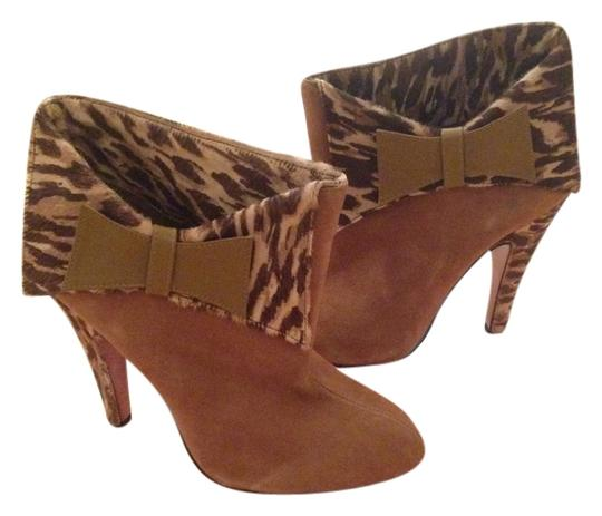 Betsey Johnson Leopard Suede Tan Boots