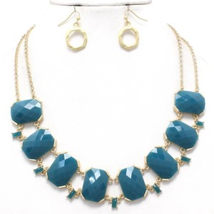 Other Teal Blue Gold Chain Acccent Statement Necklace and Earring