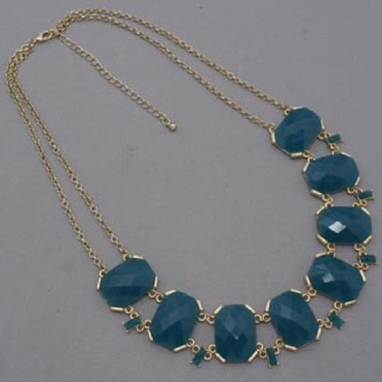 Other Teal Blue Gold Chain Acccent Statement Necklace and Earring Image 1