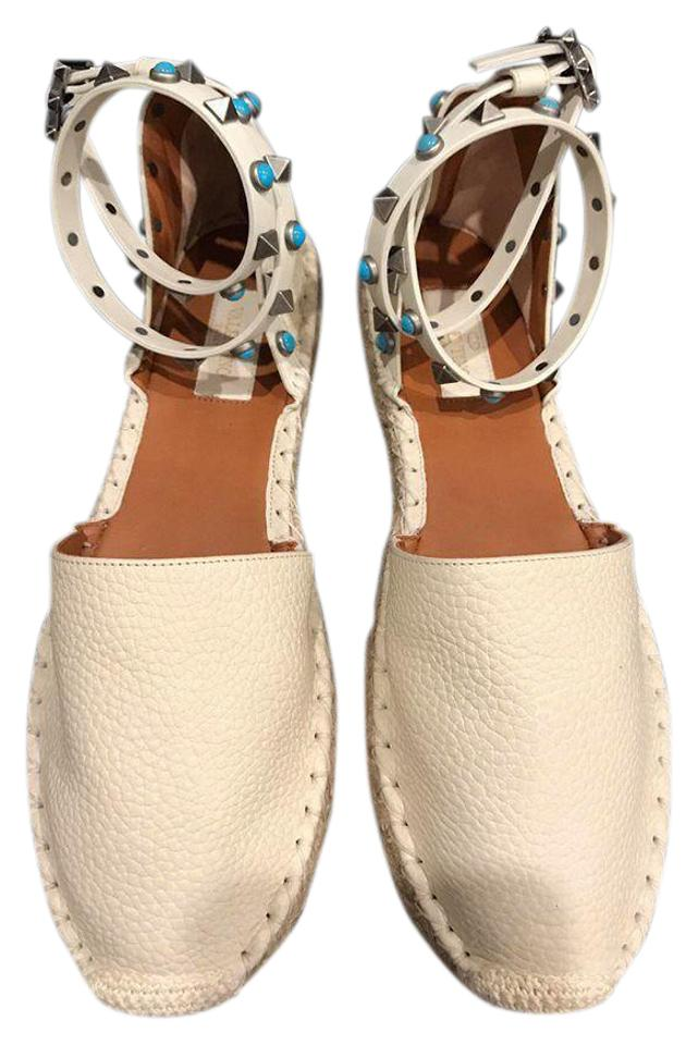 a55df1d6ed5d Valentino Rockstud Studded Espadrille Ankle Strap white Flats Image 0 ...