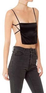 Are You Am I Crop Backless Satin Top BLACK