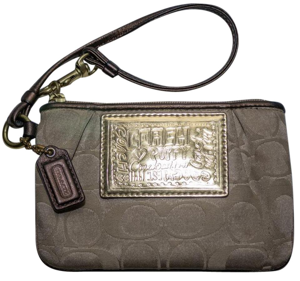 Coach Poppy Collection Brown Signature Jacquard with Leather Trim Wristlet  64% off retail