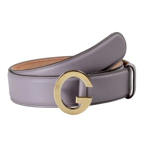 Gucci Gucci Unisex Light Purple Leather Buckle Decorated Leather Belt