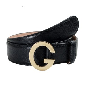 Gucci Gucci Unisex Black Textured Leather Buckle Decorated Leather Belt