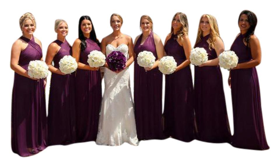 f6156a743ab David s Bridal Plum Polyester Versa Convertible Formal Bridesmaid Mob Dress