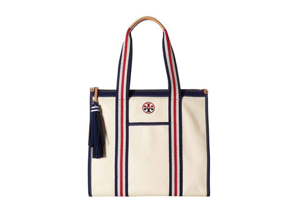 8e3252d738e Tory Burch Embroidered T Tassel Natural Navy Canvas Tote - Tradesy