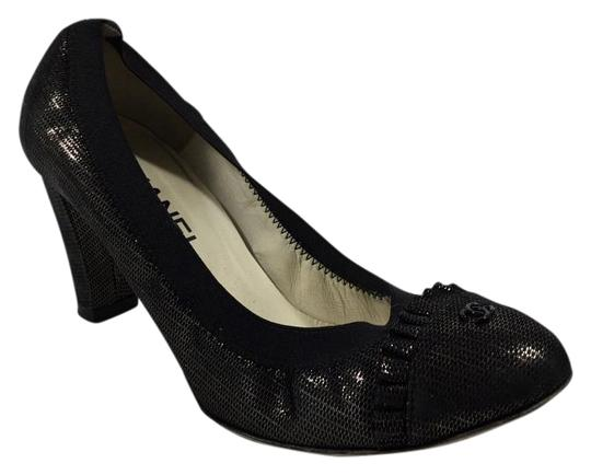 Chanel Elastic Metallic Black Pumps
