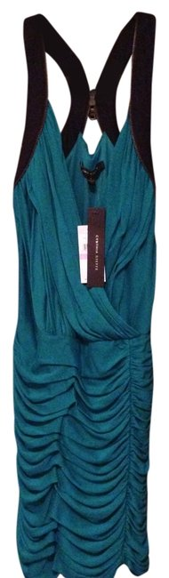 Cynthia Steffe Ruched Exposed Zipper Teal Surplice Mini Dress