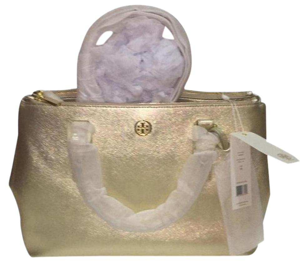 a14fe5402379 Tory Burch Robinson Metallic Double Zip Tote Gold Leather Cross Body ...
