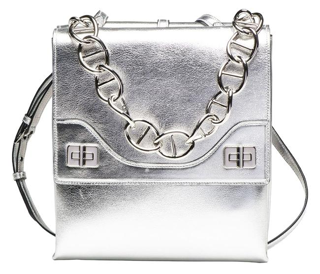 Item - Double Flap Vitello Soft Chain Runway B5095c New Argento Silver Leather Shoulder Bag