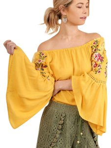 Umgee Embroidered Bell Sleeve Off Shoulder Top Honey Yellow