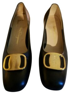 "Salvatore Ferragamo Ferragamo Leather Gold Logo Buckle Stacked 2"" Heel Made In Italy black Pumps"